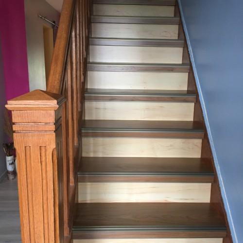 Rénovation d'escalier bicolor