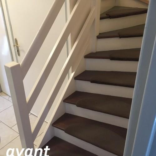 Rénovation bicolore d'un escalier bois